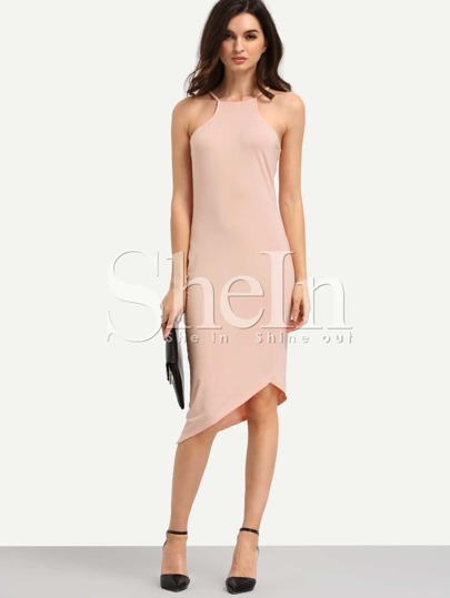 Pink Asymmetric Hem Cutaway Slip Midi Bodycon Dress