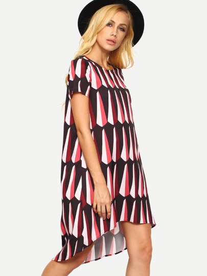 Multicolor Print Short Sleeve High Low Shift Dress
