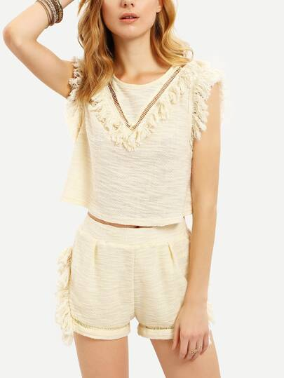 Apricot Crochet Insert Tassel Trim Crop With Shorts