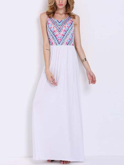 White Sleeveless Vintage Print Maxi Dress