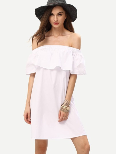 White Off The Shoulder Ruffle Shift Dress
