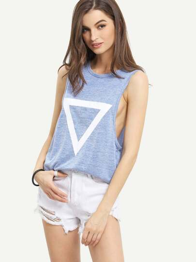 Blue Triangle Print Tank Top