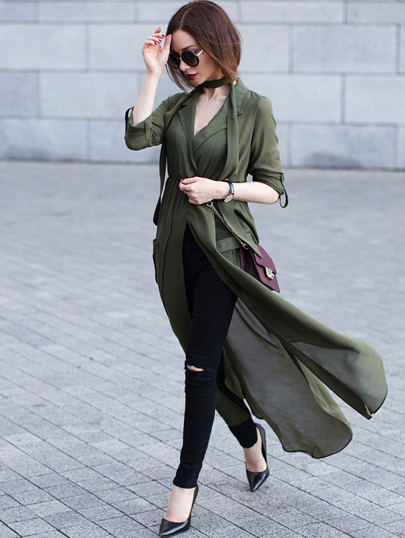 Green Deep V Neck Self-Tie Pockets Chiffon Blouse