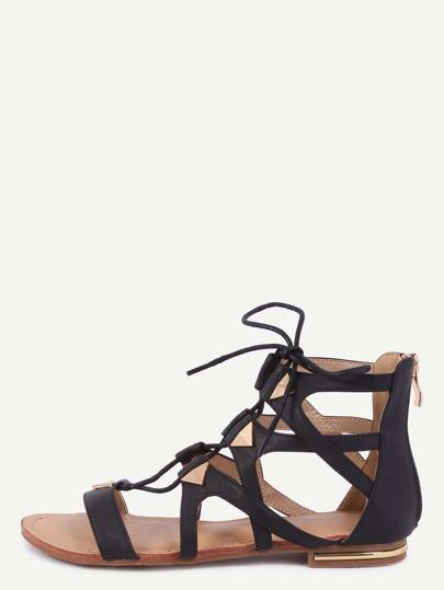 Sandalias cordón tachuela cremallera -negro