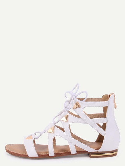 Sandalias cordón tachuela cremallera -blanco
