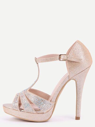 Gold T-Strap Platform Sandals