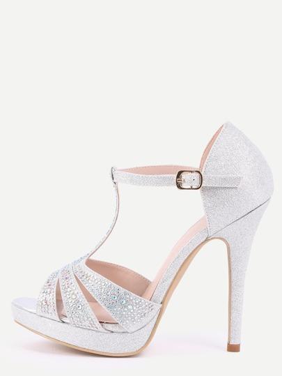 Silver T-Strap Platform Sandals