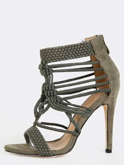 Braided Faux Suede Stiletto Heels OLIVE