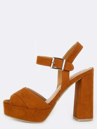 Faux Suede Cut Out Slit Heels CHESTNUT