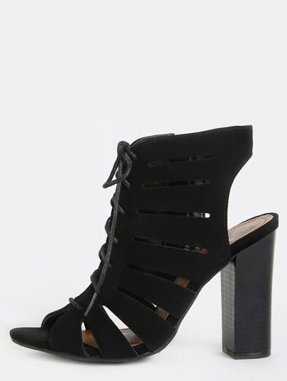 Peep Toe Cut Out Ankle Boots BLACK