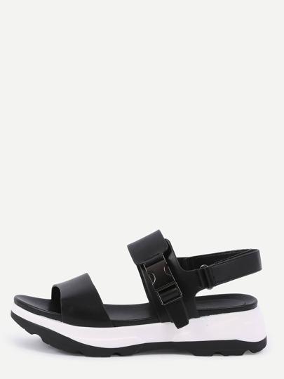 Sandales plate-forme en faux cuir - Noir
