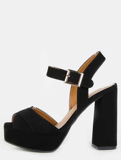 Platform Ankle Strap Chunky Heels BLACK