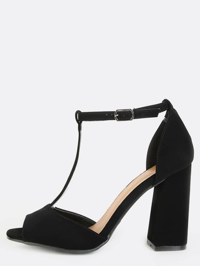 Open Toe Retro Inspired Chunky Heels BLACK