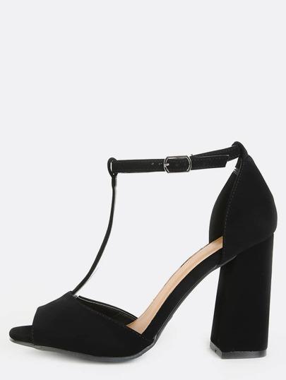 Open Toe Retro Inspired Chunky Heels BLACK