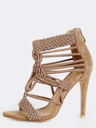 Braided Open Toe Stiletto Heels NUDE