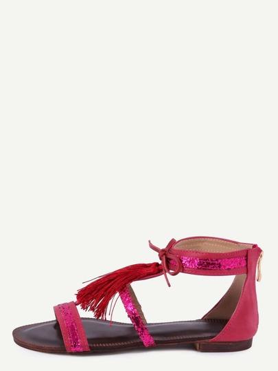 Sandalias flecos plano -rojo