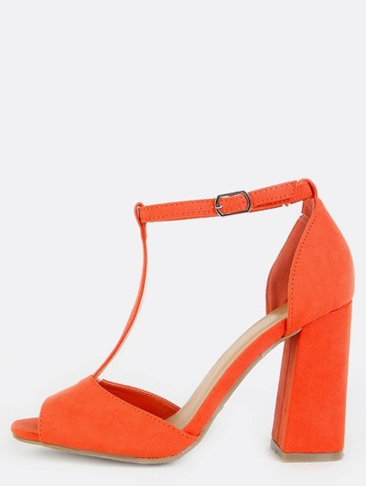 Retro Inspired T-Strap Chunky Heels ORANGE