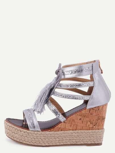 Sandales à semelle compensée avec franges - argenté