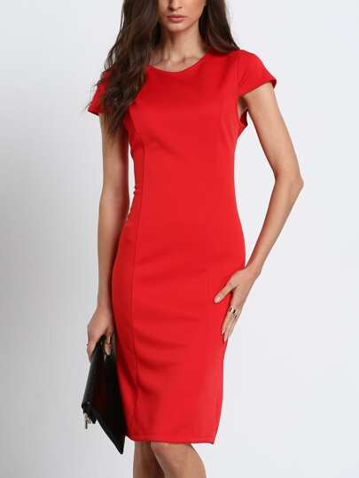 Red Cap Sleeve Knee-length Pencil Dress