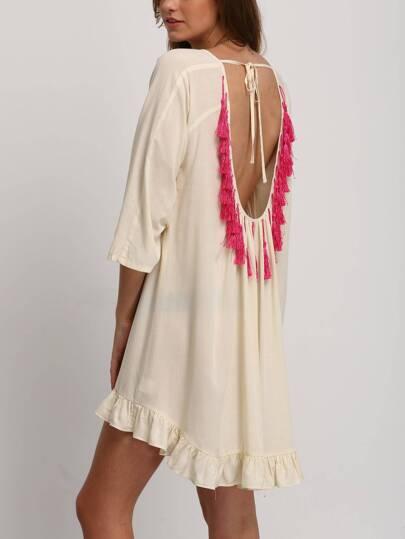 Apricot Backless Tassel High Low Ruffle Dress