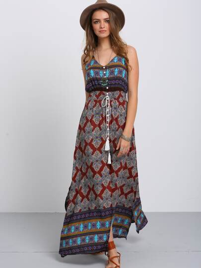 Tribal Print Split Side Maxi Cami Dress