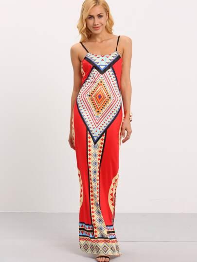 Backless Tribal Print Cami Dress