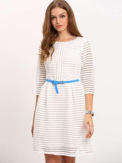 White Zippered Half Sleeve Hollow Striped Flare Dress