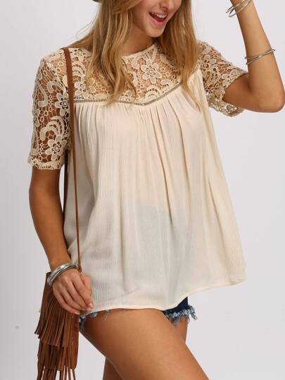 Crochet Lace Yoke Lattice Back Blouse