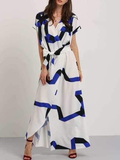 فستان ماكسي ازرق أبيض مربوط الخصر