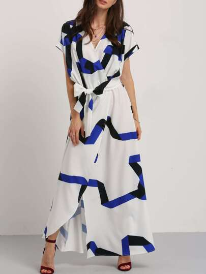 robe longue imprimée -bleu blanc