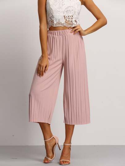 Pink Elastic Waist Pleated Pant