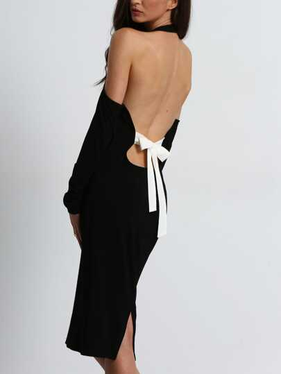 Black Open Shoulder Backless Bow Halter Dress