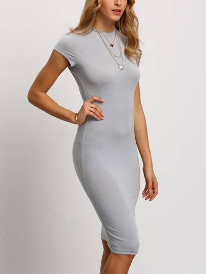 Grey Crew Neck Slim Sheath Dress