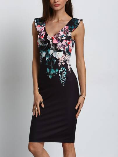 Black Ruffle V Neck Knee Length Floral Print Dress