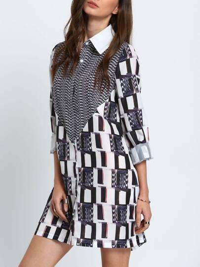 Black White Abstract Print Side Slit Dress