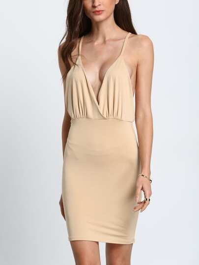 Khaki Criss Cross Back Backless Slim Dress