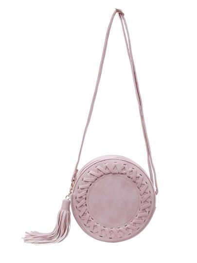 Braided Tassel Zip Round Bag - Pink