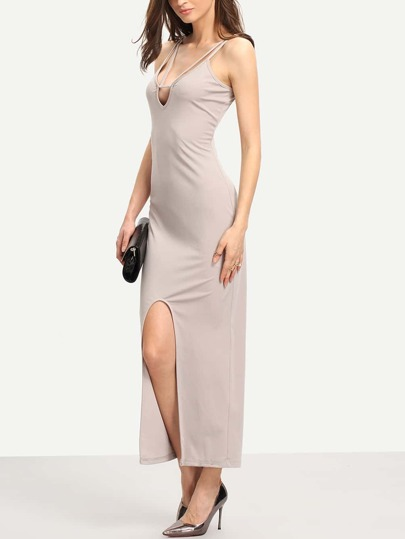 Grey Split Front U Back Sheath Dress