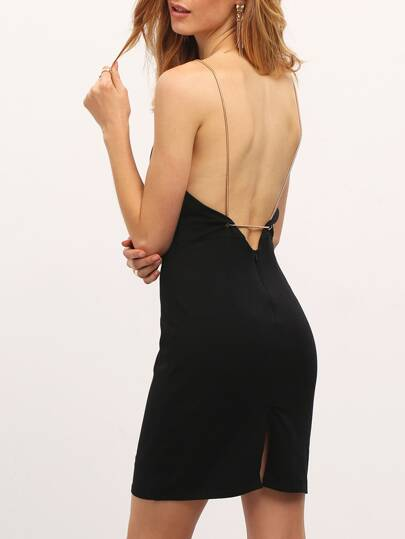 Black Split Backless Spaghetti Strap Dress