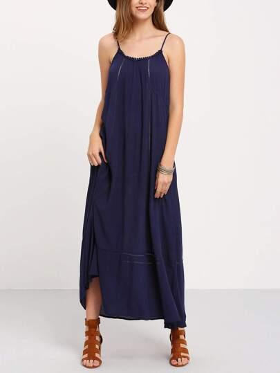 robe péplum à bretelle -bleu