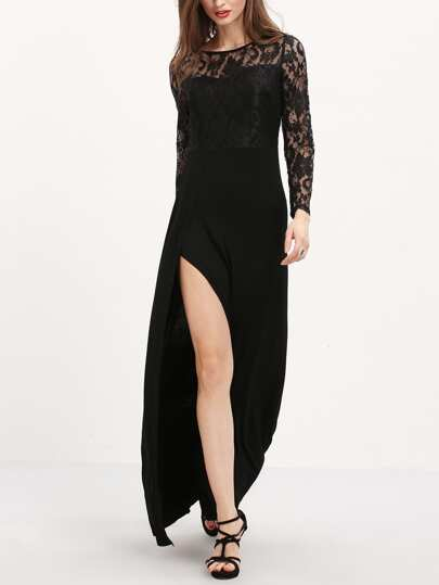 Black Long Sleeve With Lace Split Maxi Dress