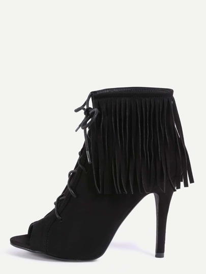 Peep Toe Lace-Up Fringe Pumps - Black