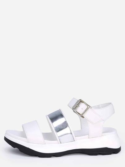 Snake Embossed Stappy Flatform Sandals - White