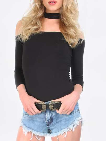 Black Cut Away High Neck Zipper T-shirt