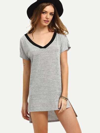 Grey Short Sleeve High Low Shift Dress