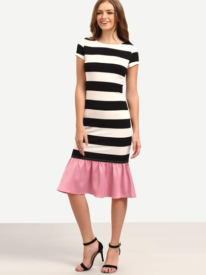 Black White Striped Patchwork Ruffle Midi Dress