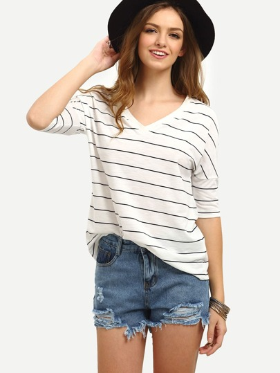 Black White Striped Half Sleeve T-shirt
