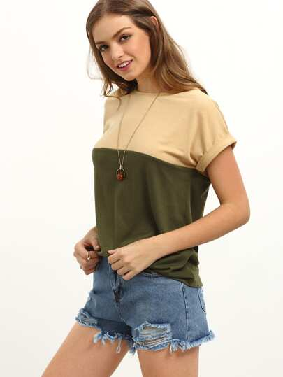 Multicolor Short Sleeve Patchwork T-shirt