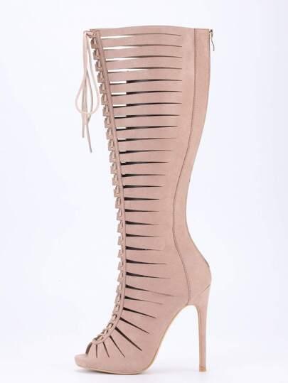Zapatos de tacón puntera abierta - marrón