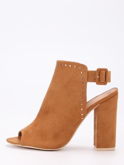Faux Suede Studded High Vamp Peep Toe Heels - Camel
